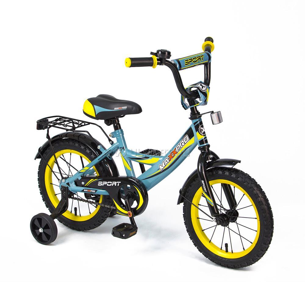 "Велосипед MaxxPro 14"" Sport Z14212 (метал. рама,багажник,крылья,звонок). Черно-оранжево-белый"