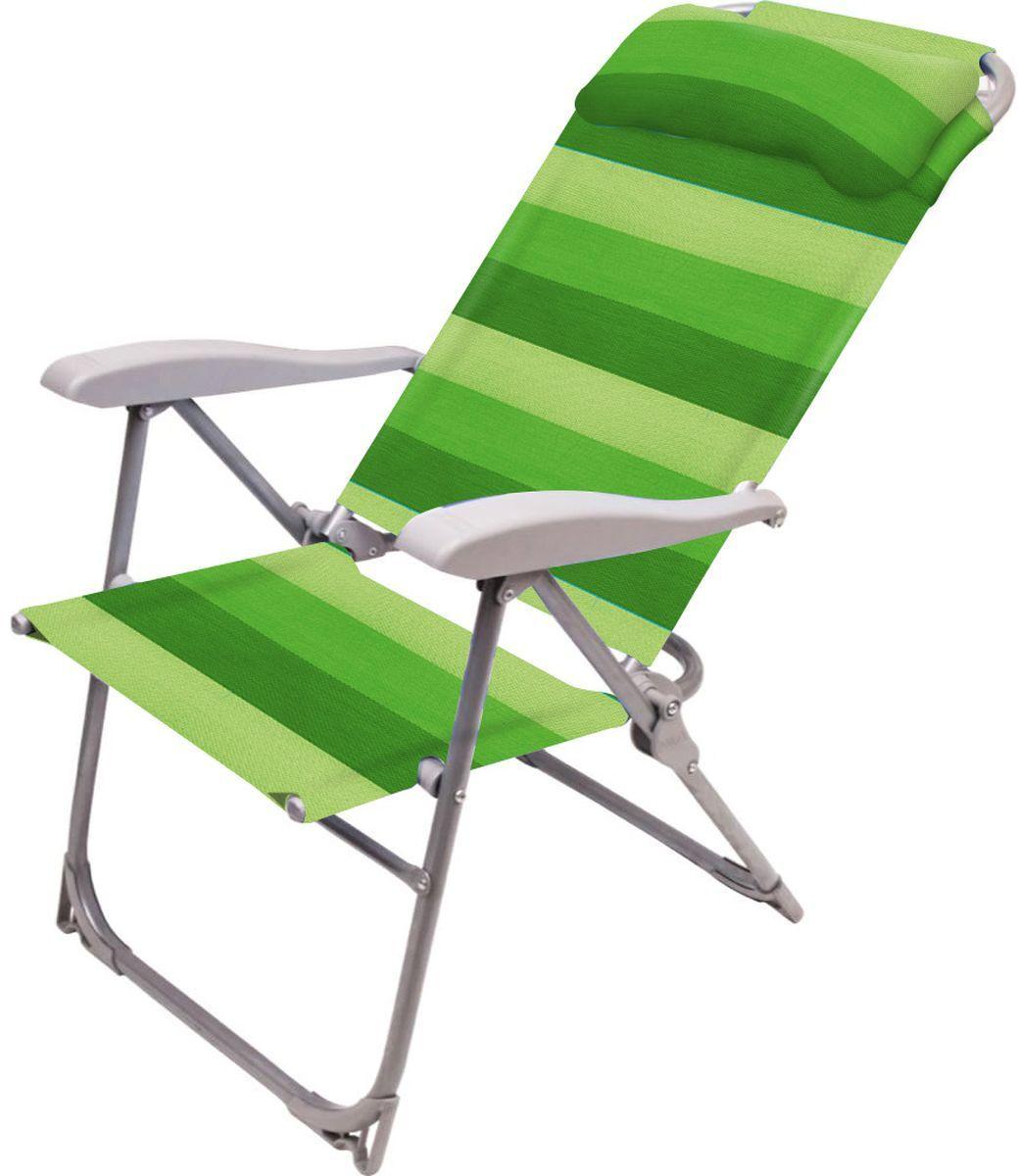 """Кресло-шезлонг складное """"НИКА"""" К2 нагрузка 120кг,цвет зеленый,размер 750*590*1090мм"""