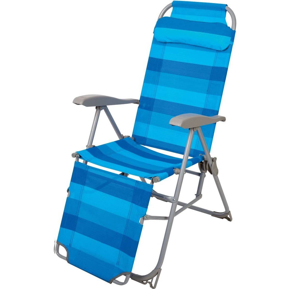 """Кресло-шезлонг складное с подножкой """"НИКА"""" К3 нагрузка 100кг,цвет синий,размер 780*590*1160мм"""