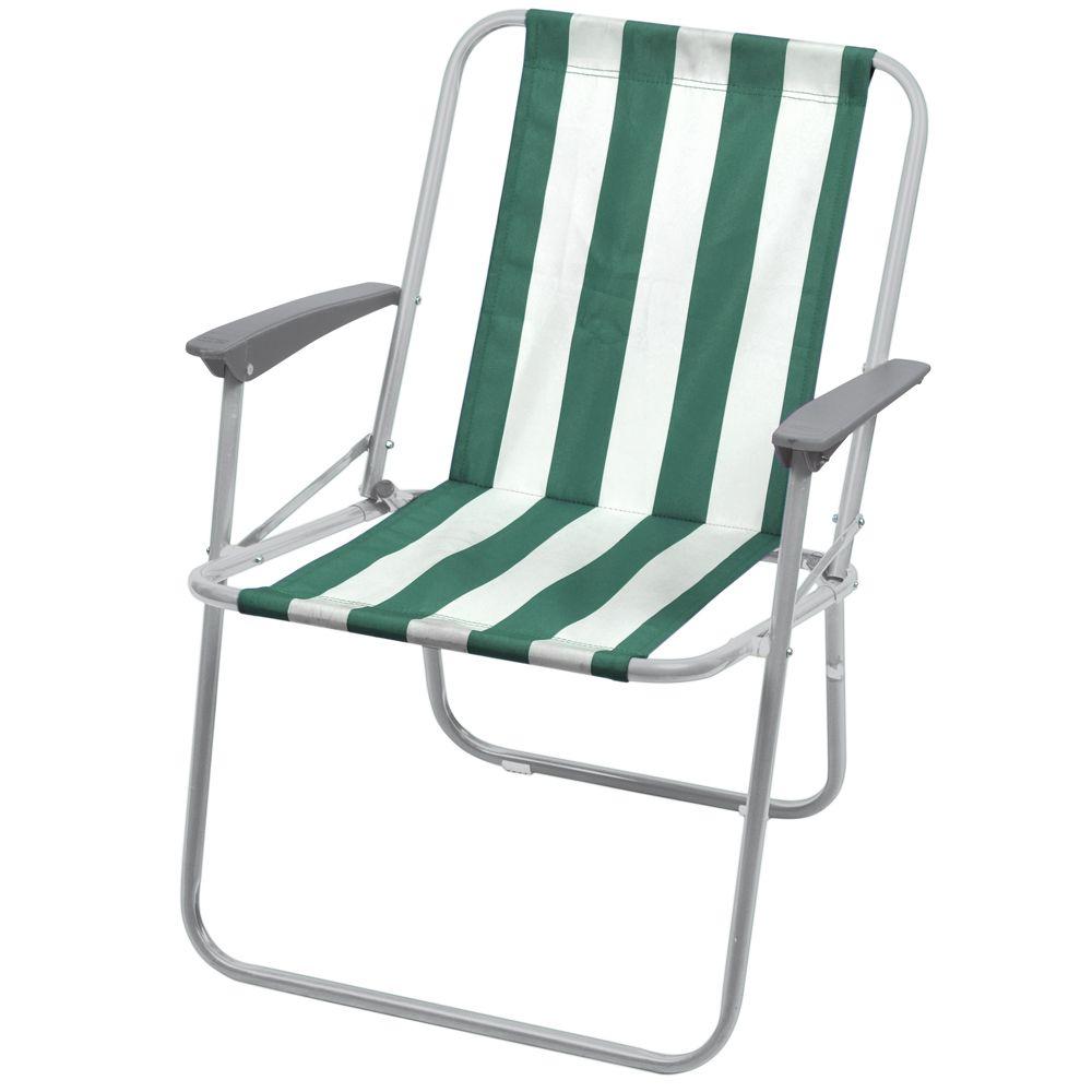 """Кресло складное """"НИКА"""" КС4 нагрузка 100кг,цвет зелено-белые полоски,размер 580*635*730мм"""