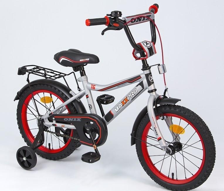 """Велосипед MaxxPro 16"""" Sport Z16210 (метал. рама,багажник,крылья,звонок). серо-черный-красный"""