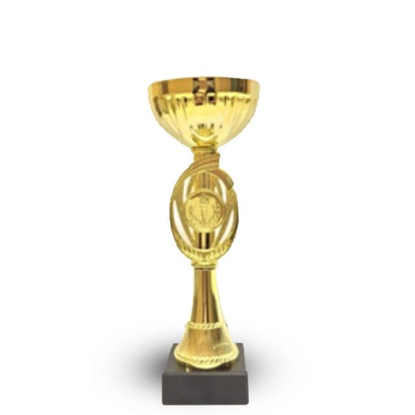 Кубок 434С Чаша кругл золото с местом под эмблему  h-20см