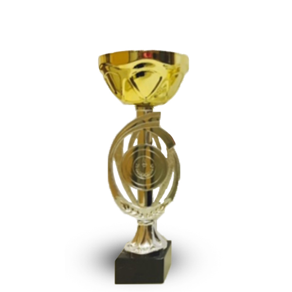 Кубок 435А Чаша кругл золото с местом под эмблему  h-25,5см