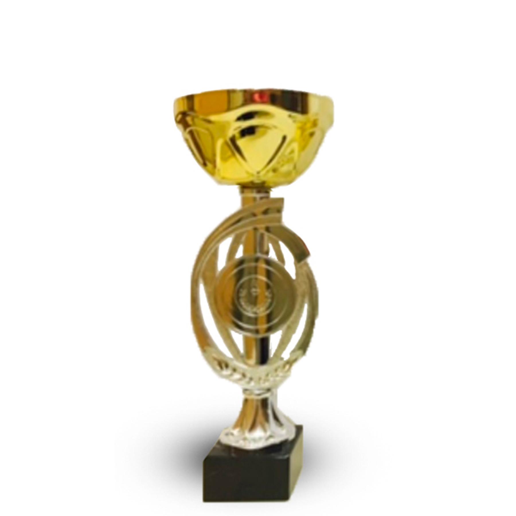 Кубок 435С Чаша кругл золото с местом под эмблему  h-17см