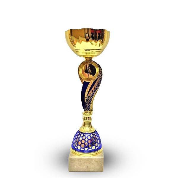 Кубок 520С чаша золото с синей ножкой h-25см
