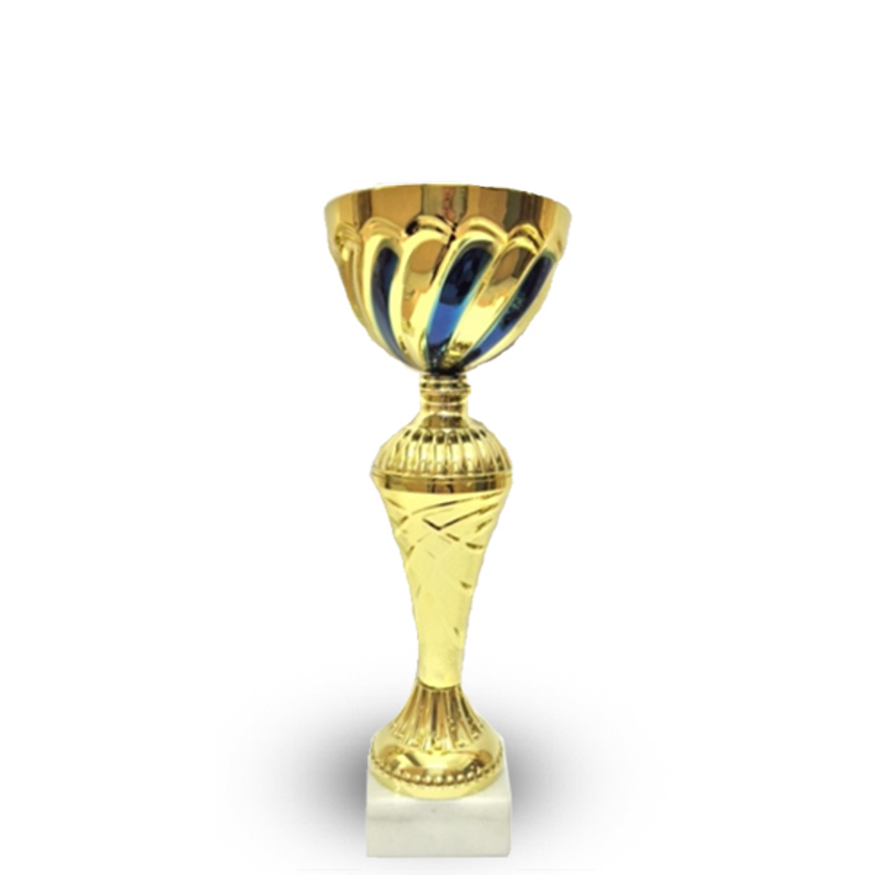 Кубок 525 A Чаша кругл золотая с синим рисунком h-29см