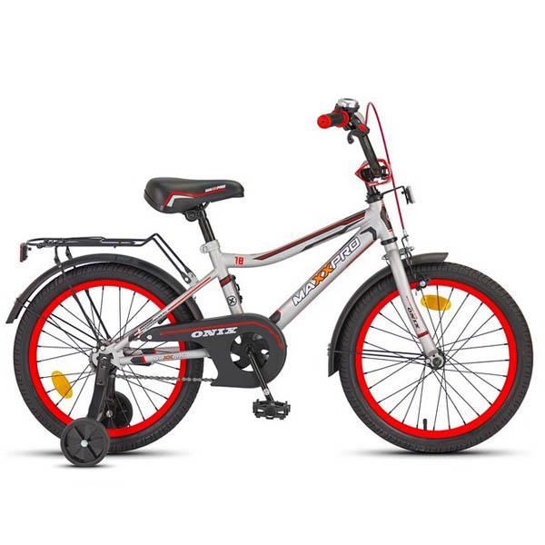"Велосипед MaxxPro 18"" ONIX Z18601(18) (метал. рама,багажник,крылья,звонок) сер/черн/красн матовый"
