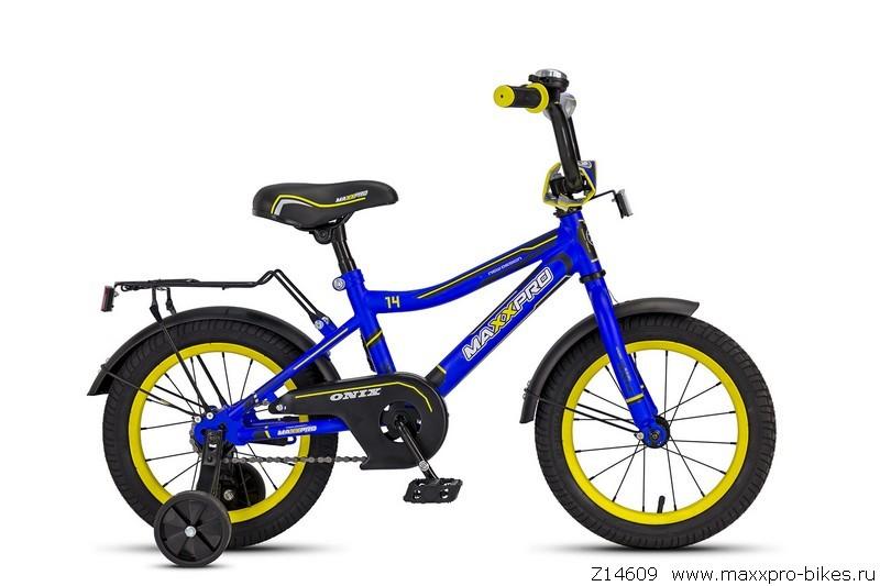 """Велосипед MaxxPro 14"""" ONIX Z14609(18) (метал. рама,багажник,крылья,звонок).Син/черн/желтый"""