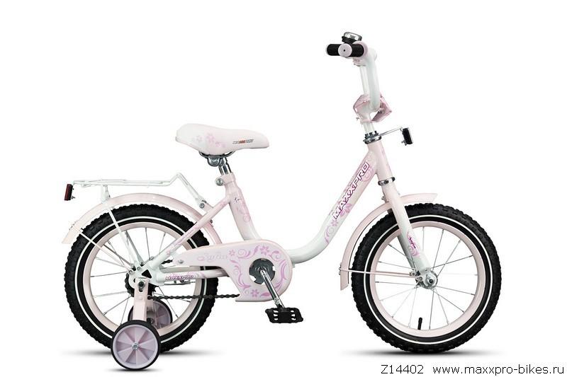 "Велосипед MaxxPro 14"" SOFIA Z14402 (метал. рама,багажник,крылья,звонок) бело-светло-розовый"