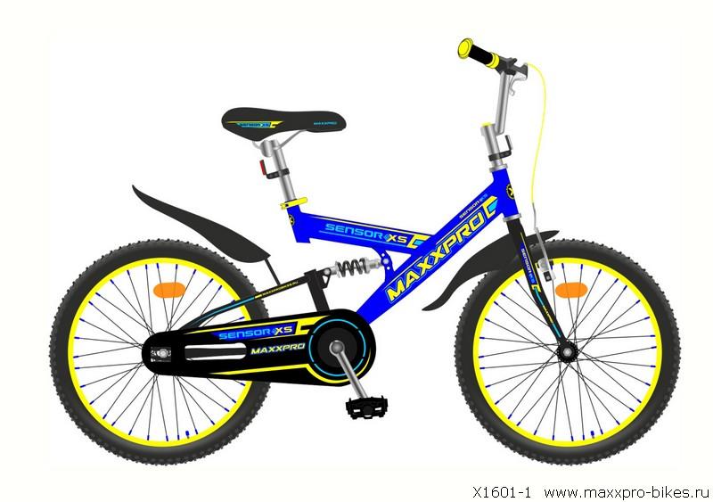 "Велосипед MaxxPro 16""  X1610-1 двухподвес (метал. рама,,крылья,звонок, 1ск) сине-желтый"