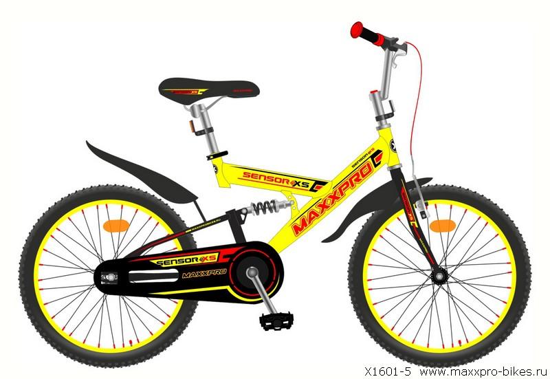 """Велосипед MaxxPro 16""""  X1610-5 двухподвес (метал. рама,,крылья,звонок, 1ск) желто-красный"""
