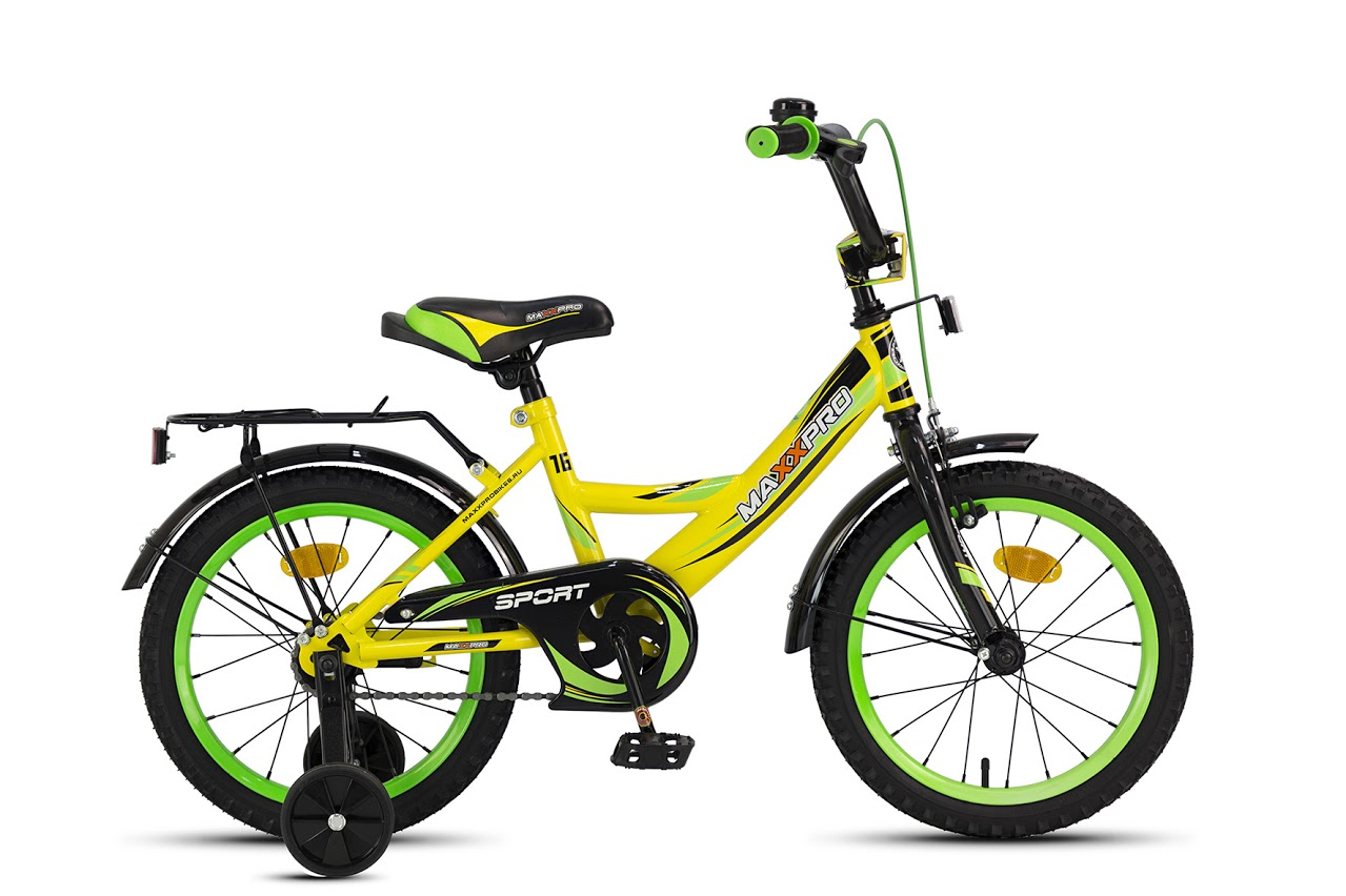 "Велосипед MaxxPro 16"" Sport Z16208 (метал. рама,багажник,крылья,звонок) желто-черно-зеленый"
