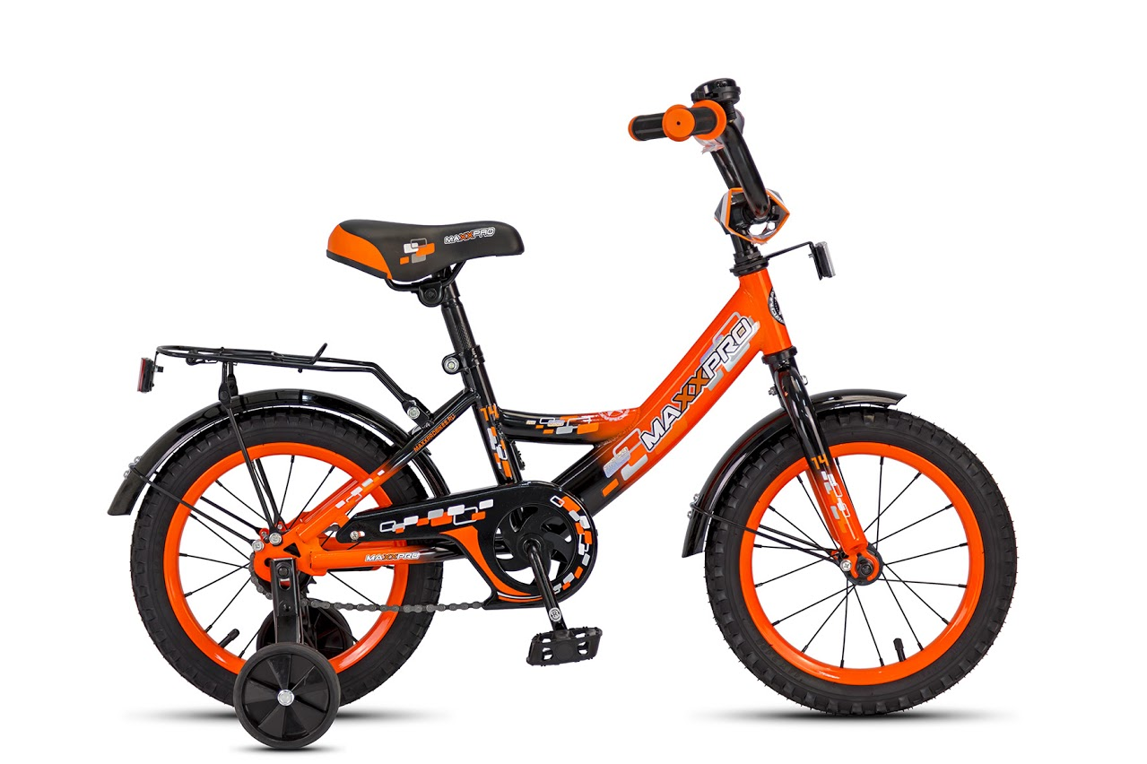"""Велосипед MaxxPro 14""""  Z14203(18) (метал. рама,багажник,крылья,звонок).Оранжево-черный"""