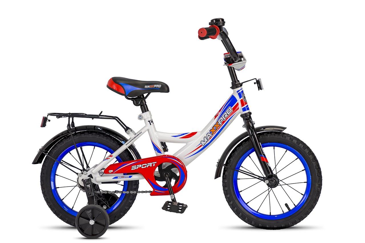 """Велосипед MaxxPro 14"""" Sport Z14209(18) (метал. рама,багажник,крылья,звонок).Бело-сине-красный"""