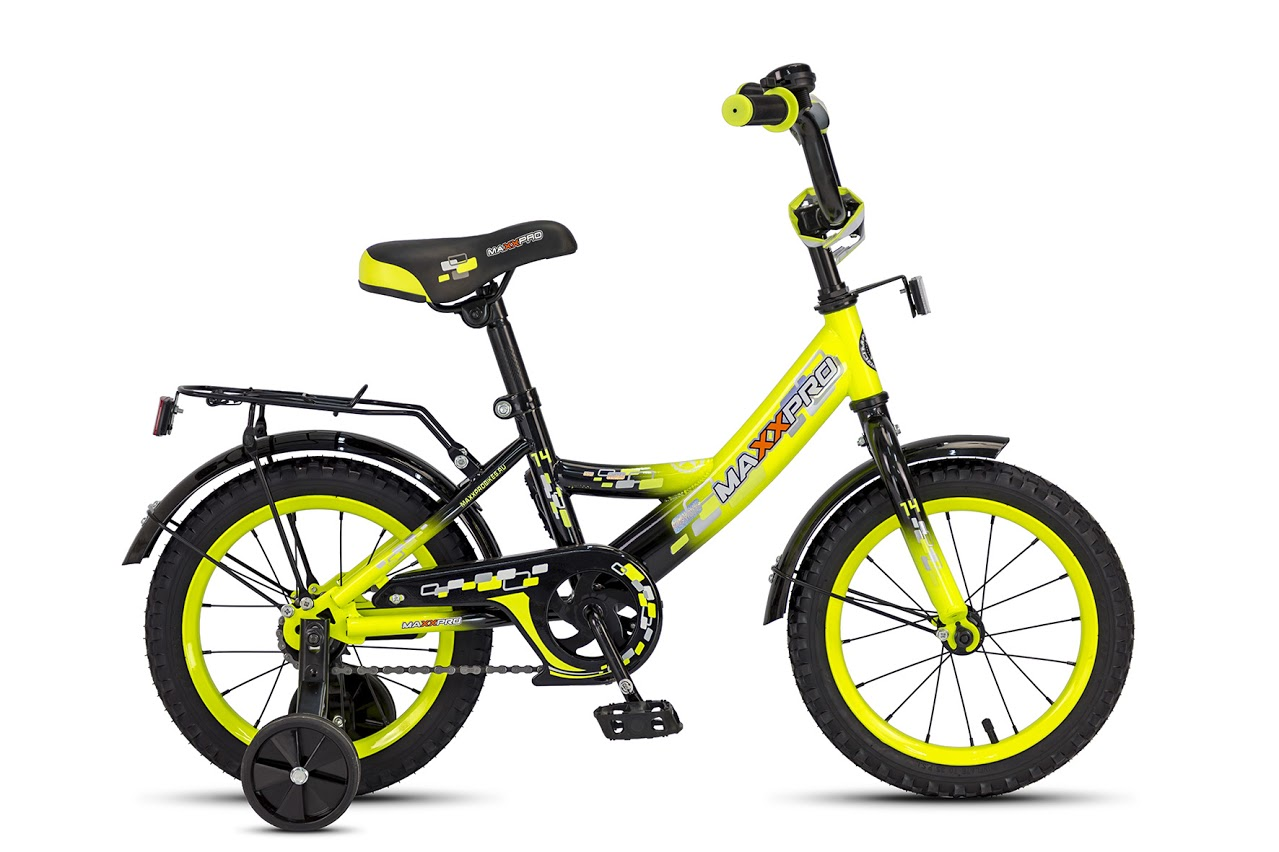 """Велосипед MaxxPro 14""""  Z14202(18) (метал. рама,багажник,крылья,звонок).Желто-черный"""