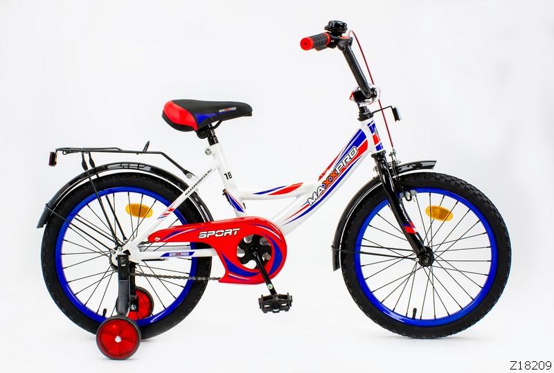 """Велосипед MaxxPro 16"""" Sport Z16209 (метал. рама,багажник,крылья,звонок). Бело-сине-красный"""
