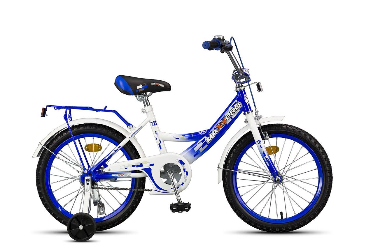 "Велосипед MaxxPro 16""  Z16206(17) (метал. рама,багажник,крылья,звонок).Сине-белый НОВИНКА!!!!"