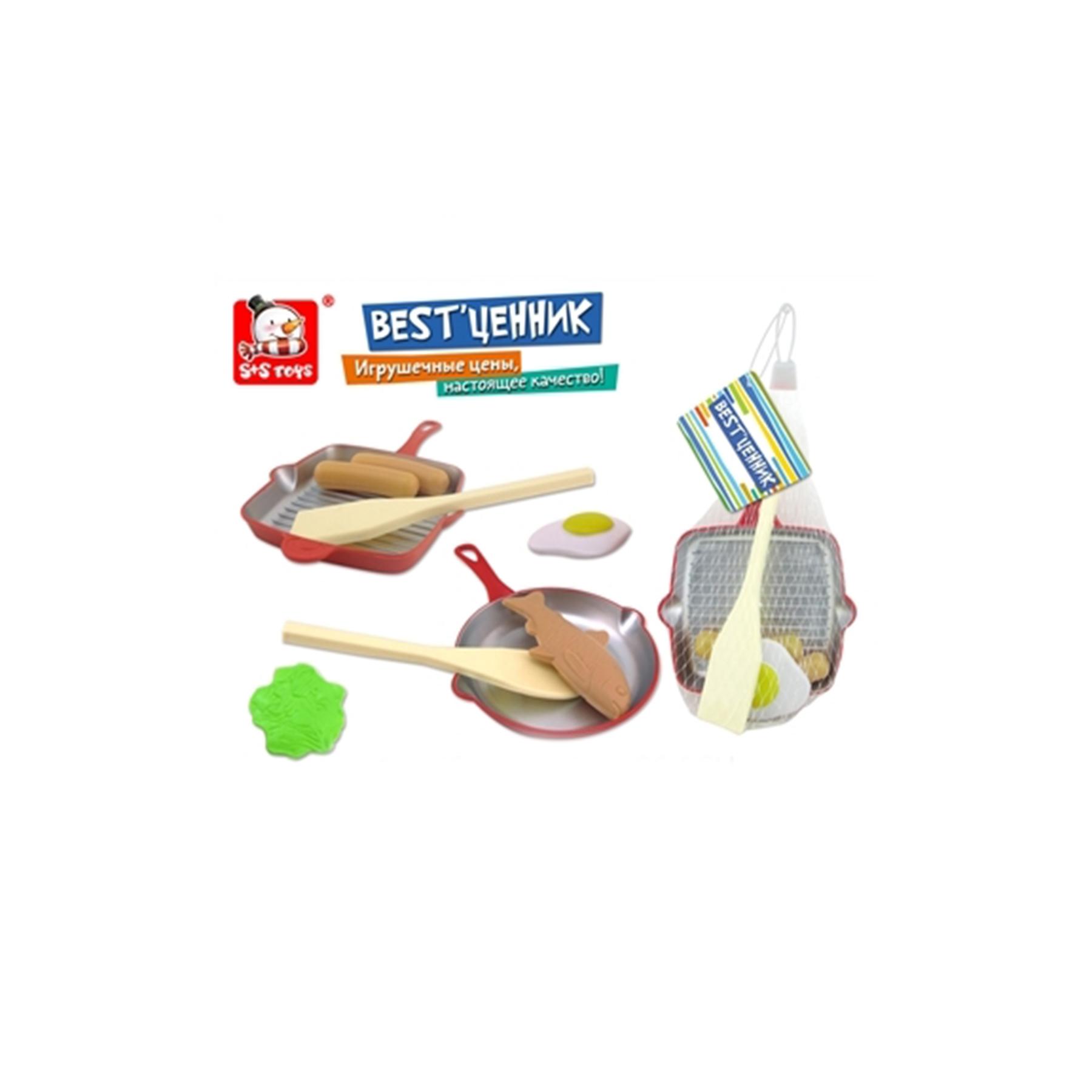 Набор посудки в сетке (сковородка,лопатка и игрушечная еда) 100795521 (52001)