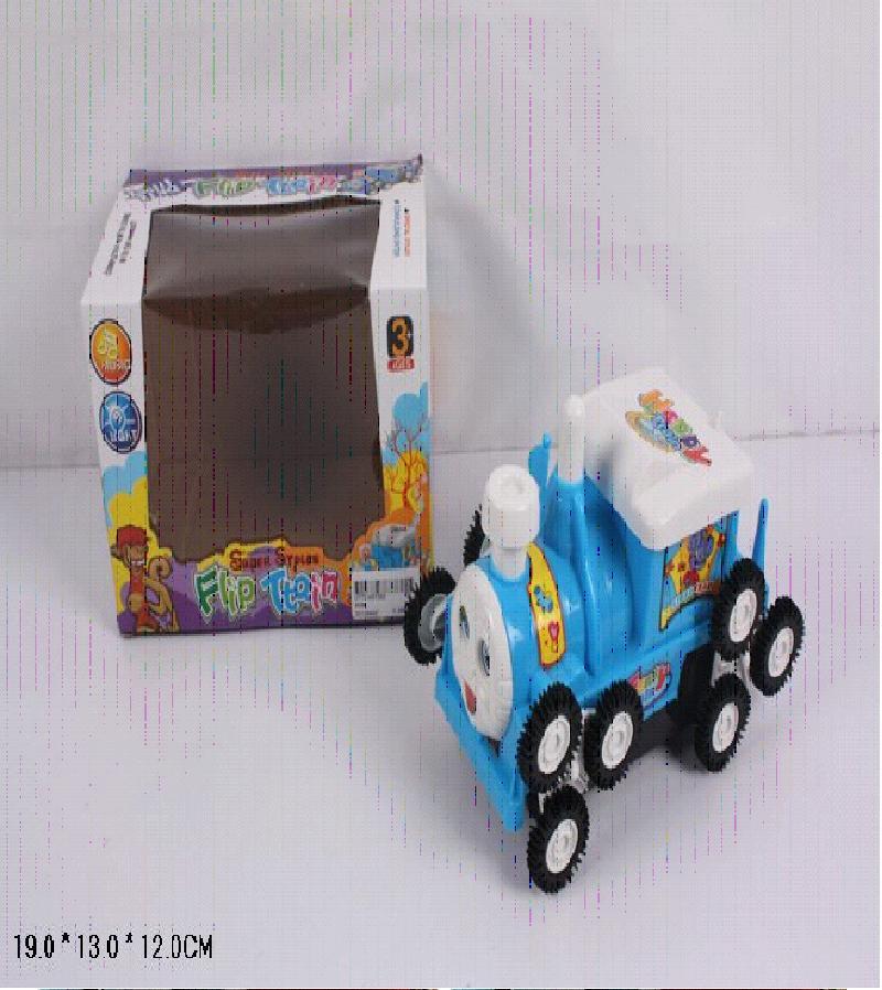 Паровозик перевертыш с черными колесами в коробке 9096/34618В
